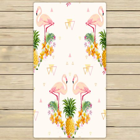 PHFZK Geometric Towel, Pink Flamingo and Pineapple Hand Towel Bath Bathroom Shower Towels Beach Towel 30x56 inches