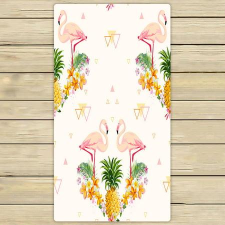- PHFZK Geometric Towel, Pink Flamingo and Pineapple Hand Towel Bath Bathroom Shower Towels Beach Towel 30x56 inches