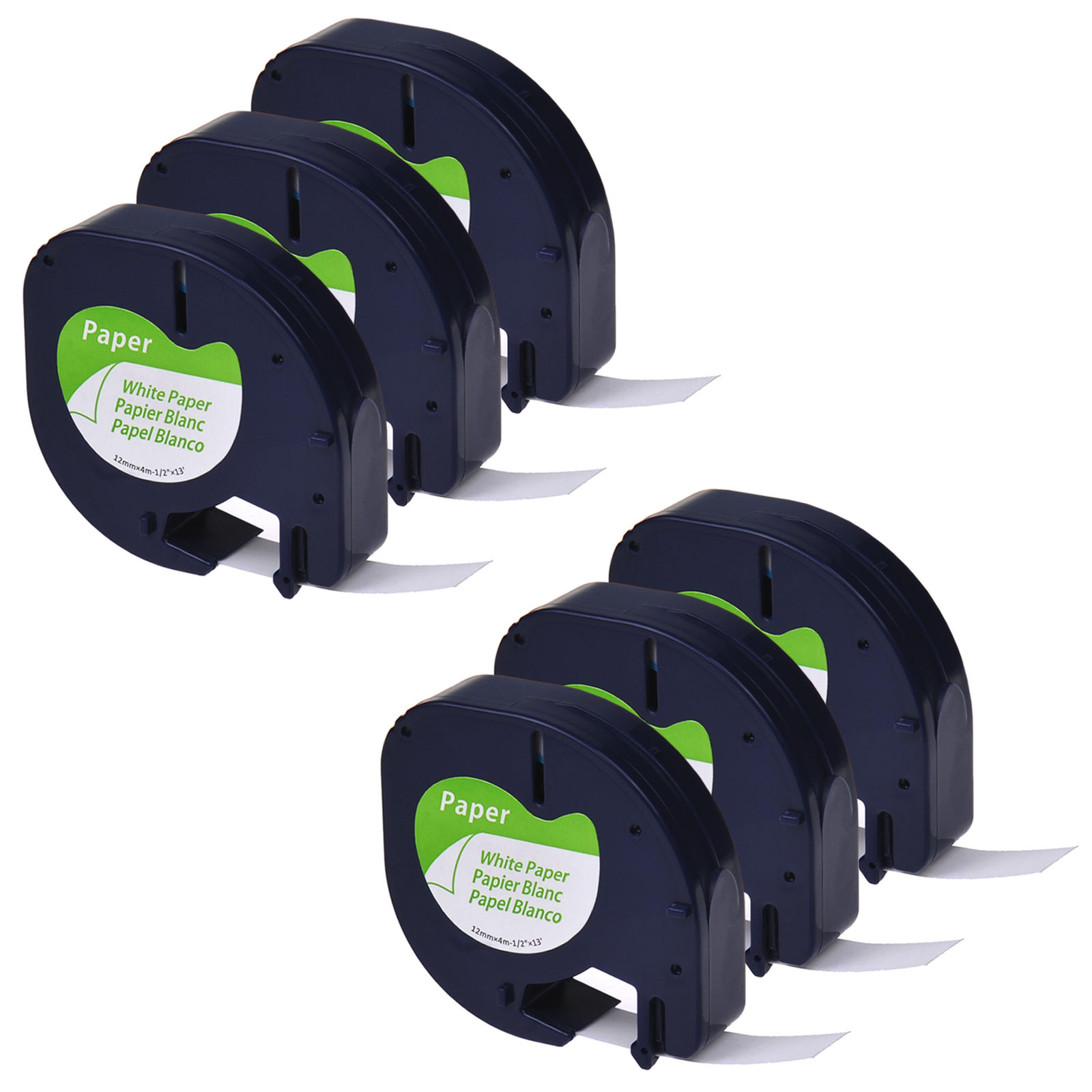 GREENCYCLE 6PK Compatible 12mm 4m Black on White Paper Label Tape for Dymo 91330 91220 91200 59421 S0721510 LetraTag Printer
