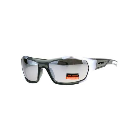 Mens Rectangular Xloop Plastic Retro Sport Plastic Sunglasses Silver Mirror (X-loop Sport Sunglasses)