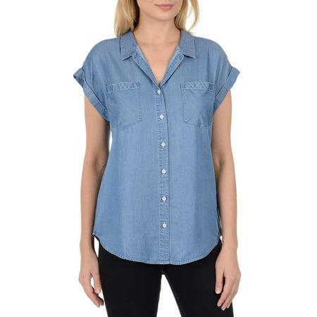 Womens Light Blue Short (Jachs Girlfriend Womens Short Sleeve Tencel Blouse (Light Blue, XX-Large))
