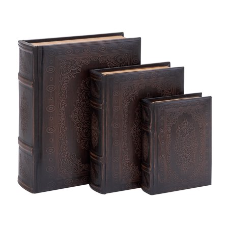 Decmode - 6, 9, And 11 Inch Traditional Wood And Leather Flourished Book Boxes - Set of 3