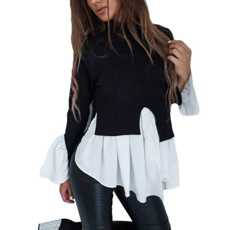 Ruffle Neck Wrap - JustVH Women's Mock Neck Long Bell Sleeve Ruffle Blouse Flare Peplum Top