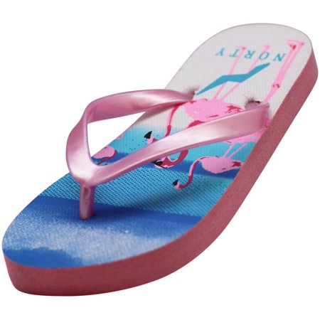 Norty Girls Casual Beach, Pool, Everyday Flip Flop Thong Sandal Shoe, 41402 Pink Flamingo / 2MUSLittleKid Naturino Pink Sandals