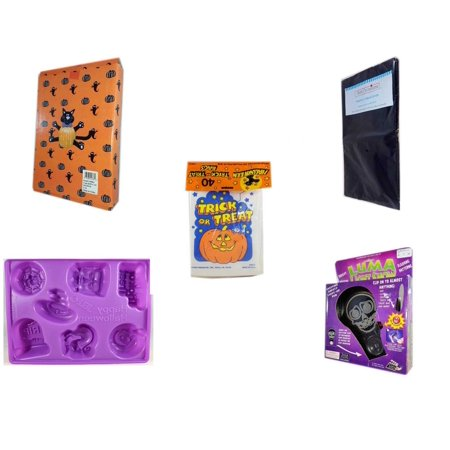 Halloween Fun Gift Bundle [5 Piece] -  Cat Pumpkin Push In 5 Piece Head Arms Legs - Black Plastic Table Cover  -  Trick or Treat Bags 40/ct - Happy  Jell-O Mold -  Luma Light Show Flashing Skeleton - Halloween Jello