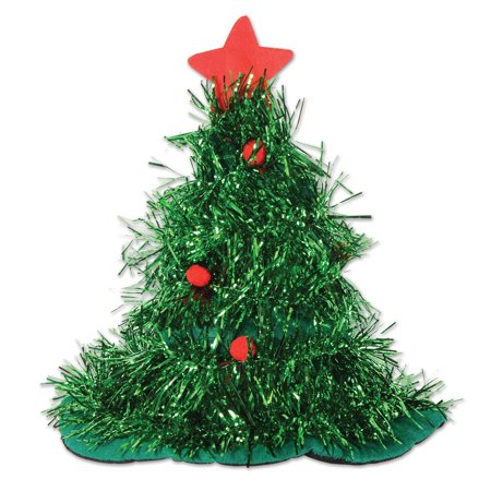 Pack of 12 Green Tinsel Christmas Tree Hats Costume Accessories - Christmas Tree Costumes