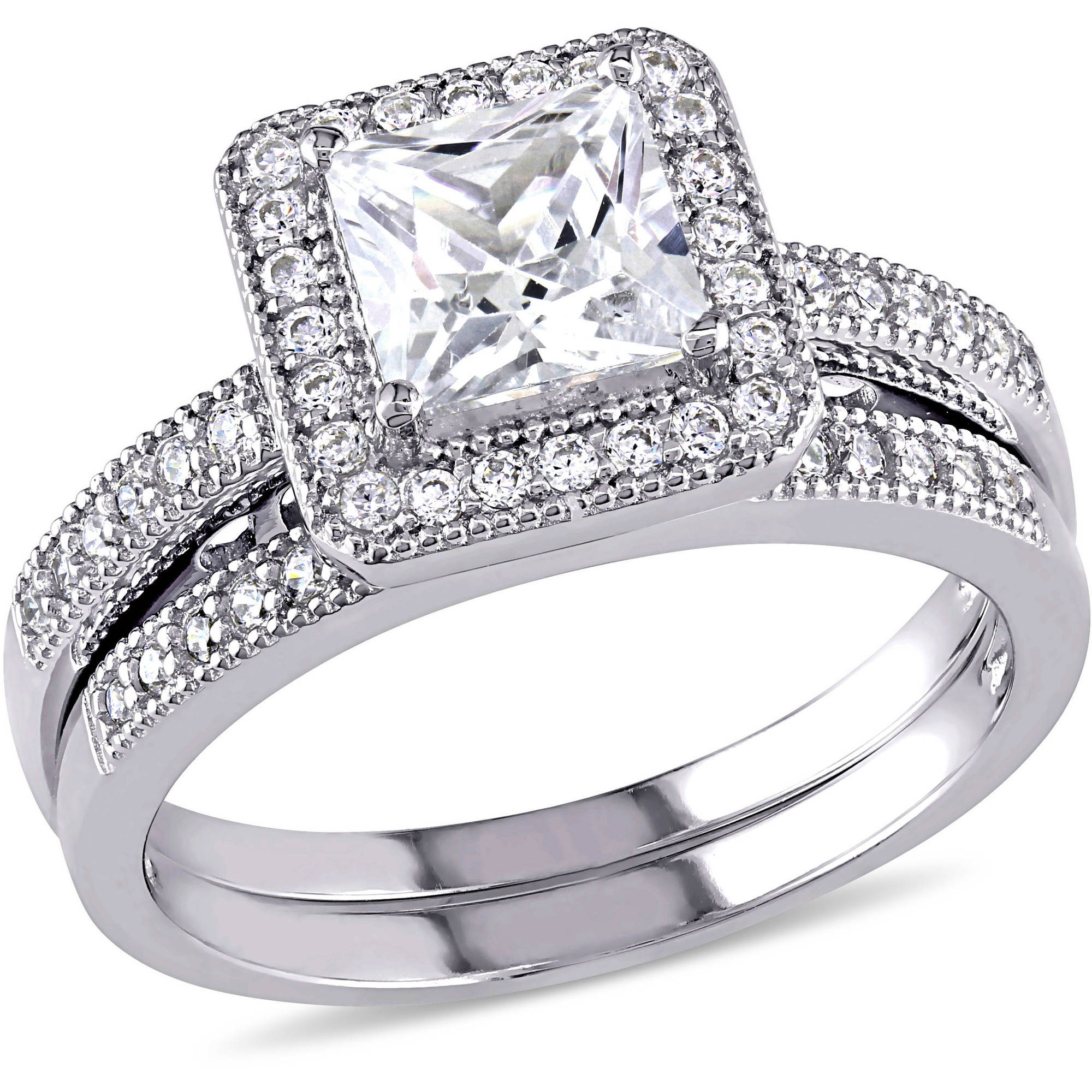 Miabella 1-1/4 Carat T.G.W. Princess and Round-Cut Cubic Zirconia Sterling Silver Bridal Set