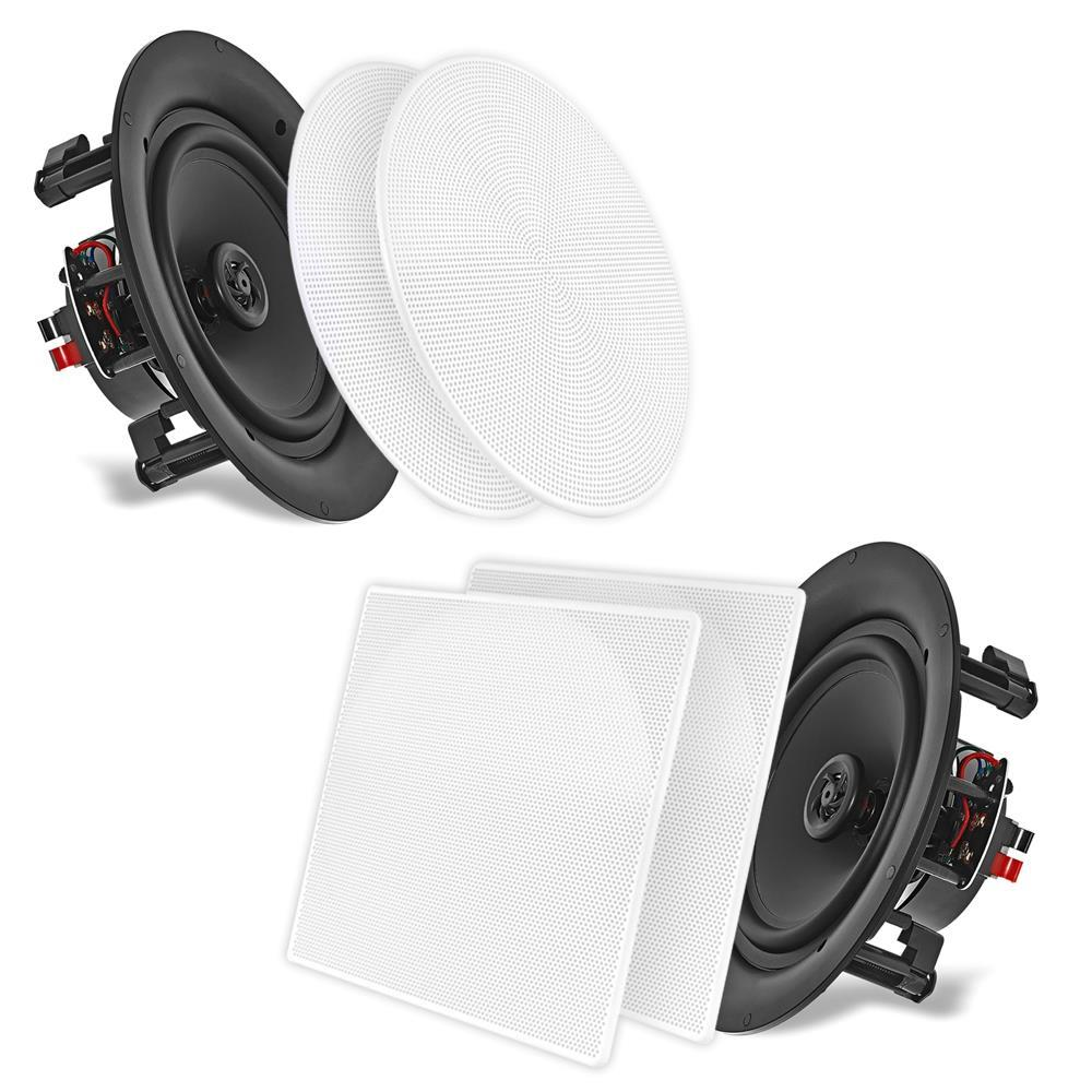 PYLE PDIC86 - 8.0'' In-Wall / In-Ceiling Dual Stereo Speakers, 250 Watt, 2-Way, Flush Mount, White