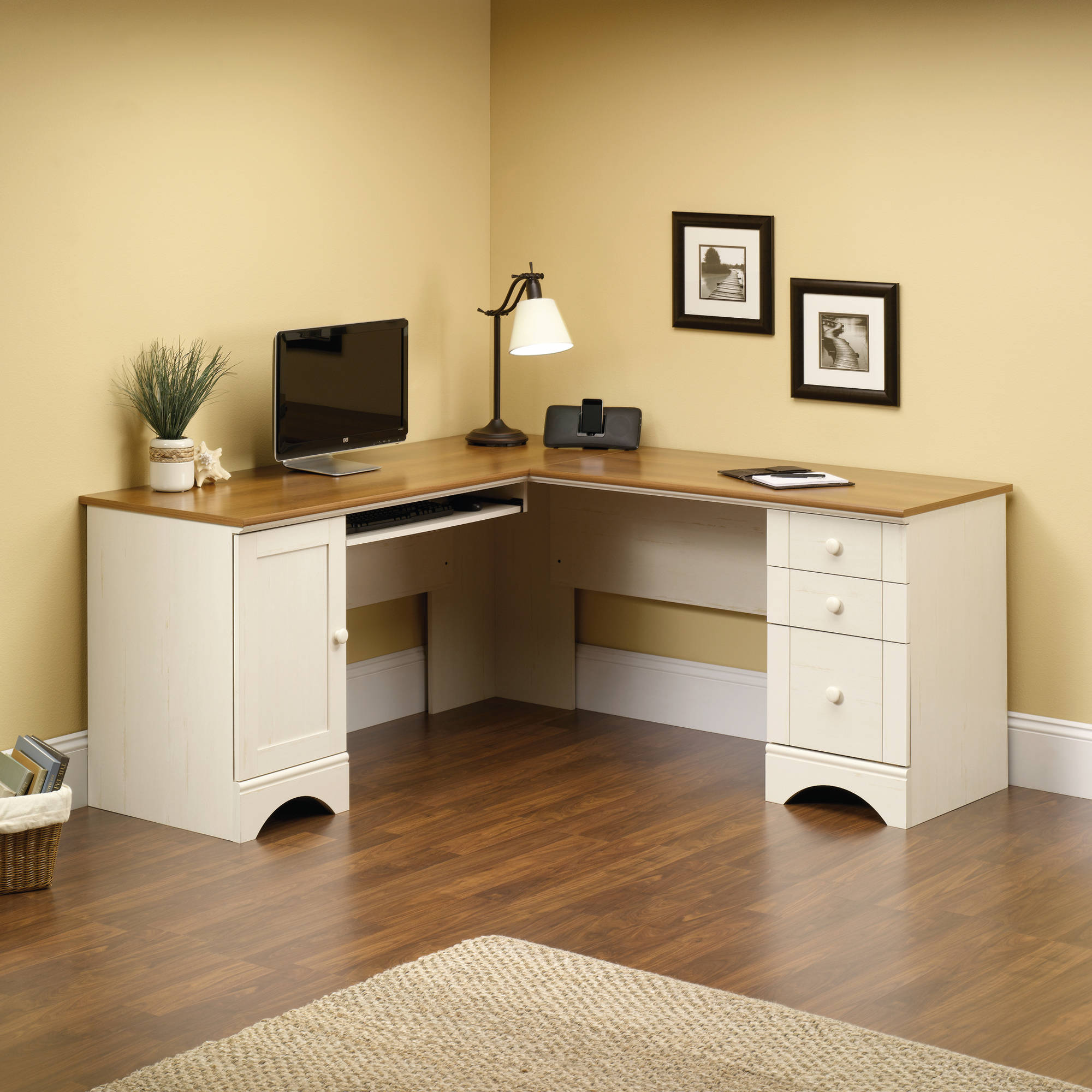 Sauder Harbor View Corner Computer Desk, Antiqued White Finish
