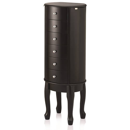 Round Armoire With 2 Curved Doors And 5 Curved Drawers, Black, MA16097