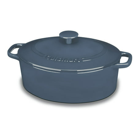 Oval Enamel Cast Iron - Cuisinart Chef'S Classic Enameled Cast Iron 5.5 Qt. Oval Covered Casserole-Provencal Blue