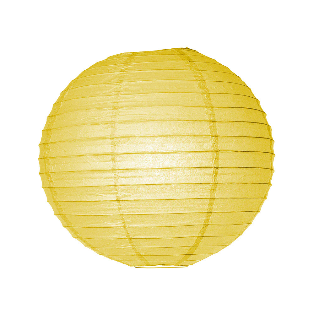 Luna Bazaar Paper Lantern (16-Inch, Parallel Style Ribbed, Yellow) - Rice Paper Chinese/Japanese Hanging Decoration - For Home Decor, Parties, and Weddings