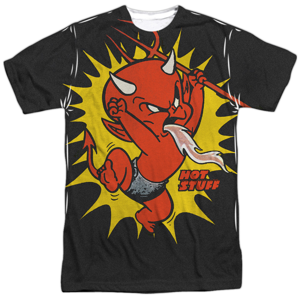 Hot Stuff the Little Devil Cartoon Fire Breather Adult Front Print T-Shirt