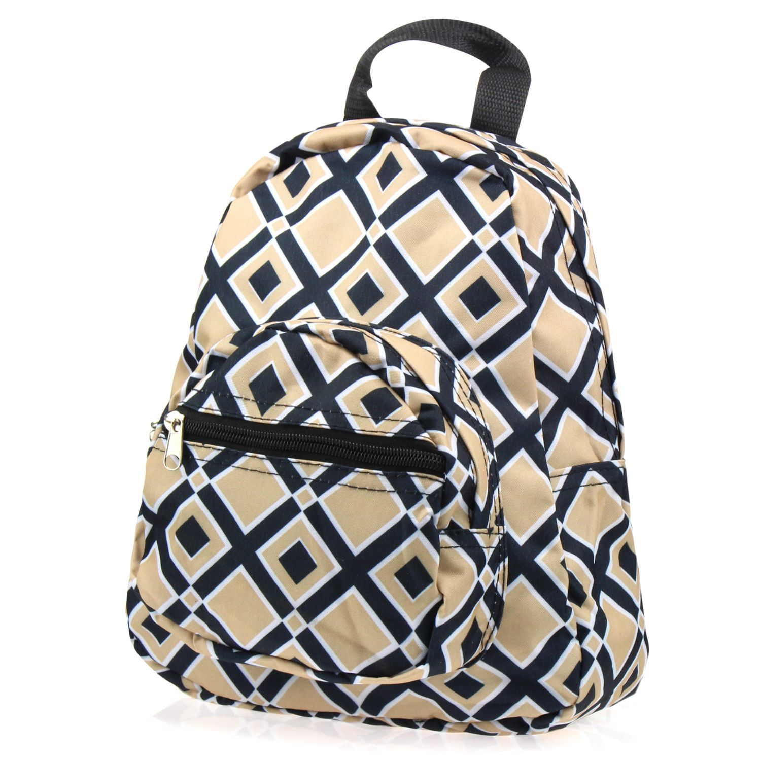 Stylish Kids Small Travel Backpack by Zodaca Girls Boys Schoolbag Children's Bookbag Lunch Bag - Khaki/Black Times Square