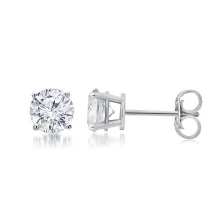 1 Carat T.W. Round White Diamond Sterling Silver Stud Earrings