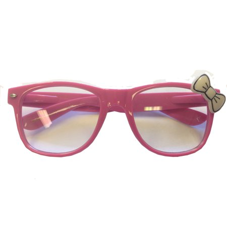 Pink Glasses With White Bow Hello Kitty Nerd Accessory Adult