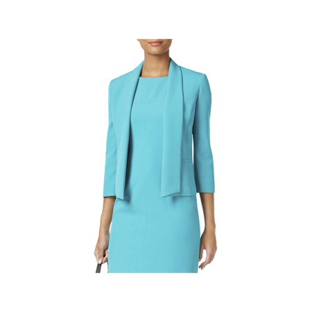 Leather Petite Blazer (Kasper Womens Petites Shawl Collar 3/4 Sleeves Open-Front Blazer)
