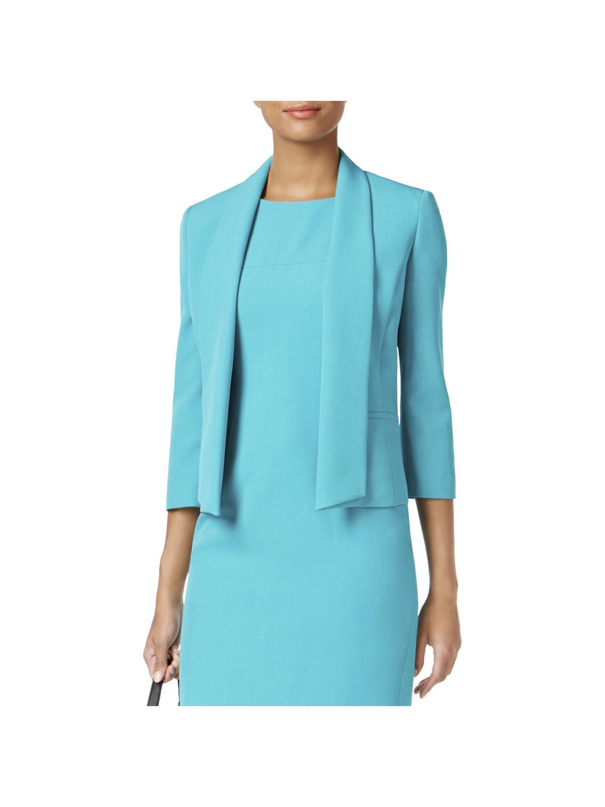 Kasper Womens Petites Shawl Collar 3/4 Sleeves Open-Front Blazer