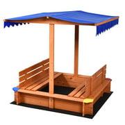 Gymax Wooden Square Sandbox Kids Children Outdoor Toy Playset w/ Canopy Bench