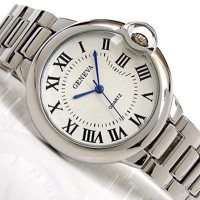 Silver Geneva Large Case Classic Roman Dial Women's Dressy Bracelet Watch