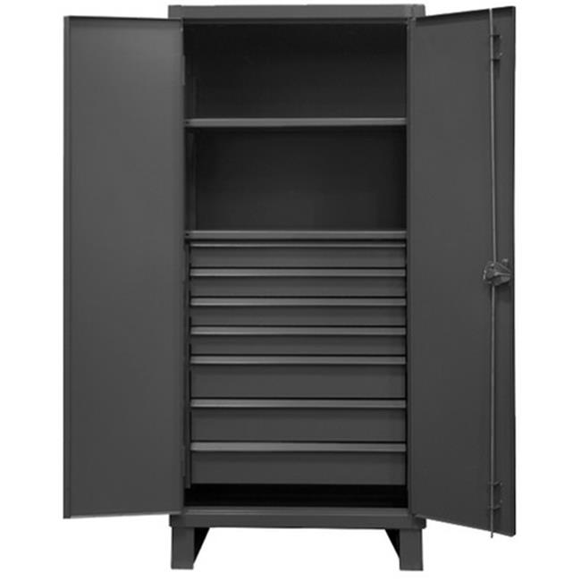 12 Gauge Recessed Door Style Lockable Cabinet with 1 Fixed Shelf & 1 Adjustable Shelves & 7 Drawers, Gray - 36 in.