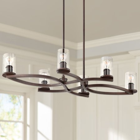 Franklin Iron Works Fairport Bronze and Clear Glass 6-Light Island Chandelier ()