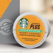 Starbucks Plus Coffee, Honey Caramel Flavored 2X Caffeine K-Cup Coffee Pods for Keurig Brewers, One Box of 16