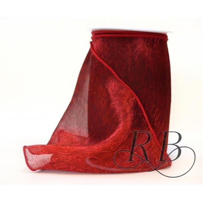 Ribbon Bazaar 6322 2.5 in. Wired Metallic Sheer Jacquard Ribbon, Red - Same Edge - 10 Yards