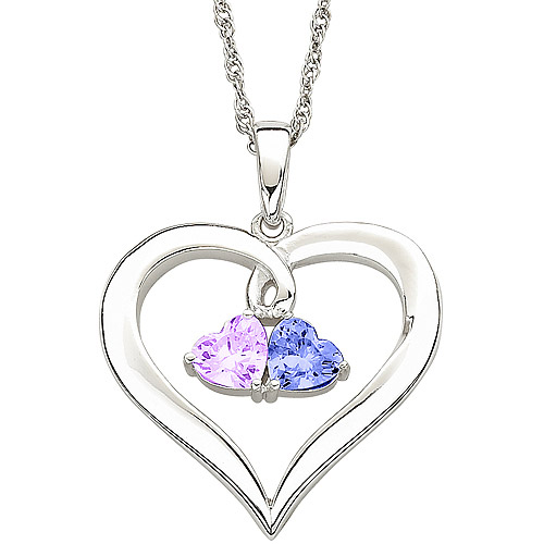 Personalized Couple's Birthstone Sterling Silver Hearts Pendant, 20""