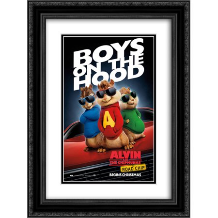 Alvin and the Chipmunks: The Road Chip 20x24 Double Matted Black Ornate Framed Movie Poster Art Print