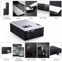 Projector ,FLOUREON 1080P Portable Home Movie Support VGA USB AV SD HDMI TV Quite cooling system for home family entertainment