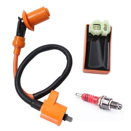 New Pack of Gy6 50cc 125cc 150cc Scooter Moped Racing Cdi Box 6 Pin Ignition Coil 3 Electrode Spark Plug