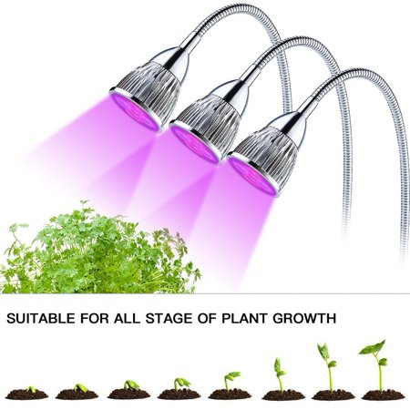 - NEW Triple Head LED Grow Light, Desk Clip Lamp with 360 Flexible Gooseneck and 3 independent switch for Office, Home, Indoor Garden Greenhouse