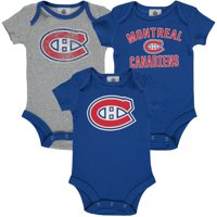 Montreal Canadiens Fanatics Branded Infant Three-Pack Primary Logo Bodysuit Set - Blue/Heathered Gray