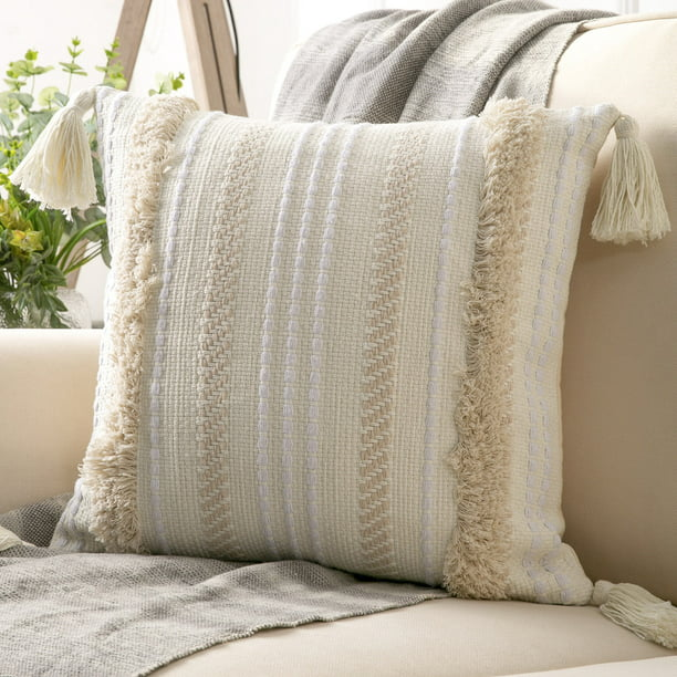 "Phantoscope Boho Woven Tufted with Tassel Series Decorative Throw Pillow, 18"" x 18"", Cream White Stripe, 1 Pack"