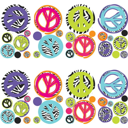 RoomMates Zebra Peace Signs Peel & Stick Wall Decals, 2 pack (Laptop Decals Peace Signs)