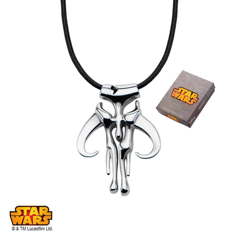 "Disney Stainless Steel Star Wars Mandalorian Symbol Pendant, 20"" Leather Cord"