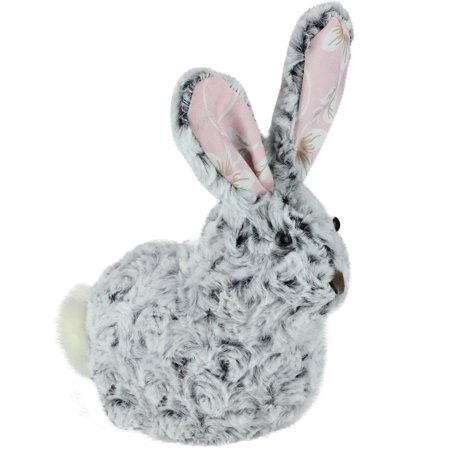 """8"""" Plush Gray and White Pink Floral Rabbit Easter Spring Decoration - image 1 de 1"""
