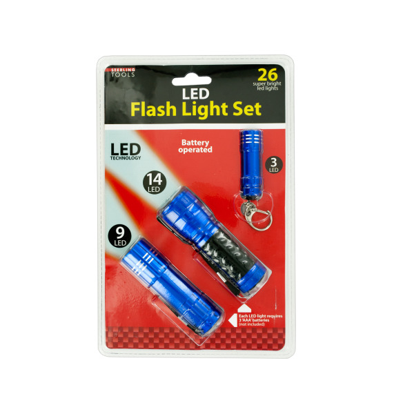 Bulk Buys LED Flashlight Set, Case of 1
