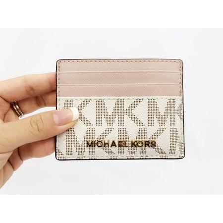 cb88fee2727b Michael Kors - Michael Kors Jet Set Card Holder ID Vanilla MK Signature  Ballet Pink Wallet - Walmart.com