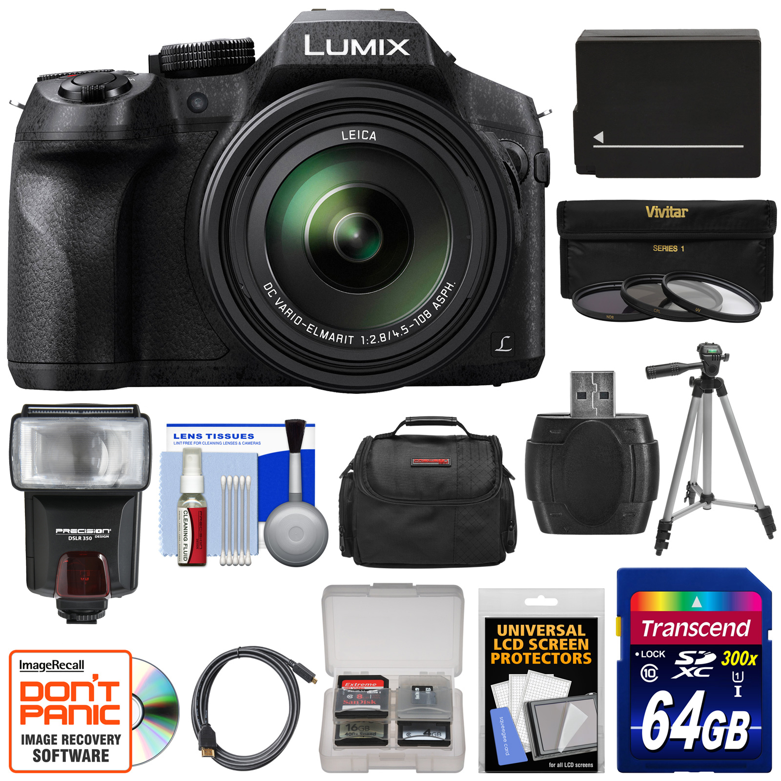 Panasonic Lumix DMC-FZ300 4K Wi-Fi Digital Camera with 64GB Card + Battery + Case + Tripod + Flash + 3 Filters + Kit