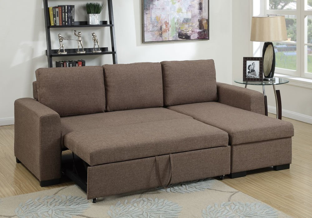 Modern Light Coffee Convertible Linen-Like Fabric Sectional Sofa Set with  Pull-Out Bed ?