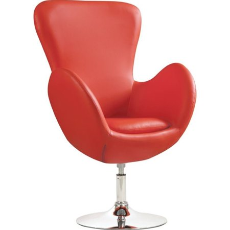 Bowery Hill Faux Leather Swivel Accent Chair In Red