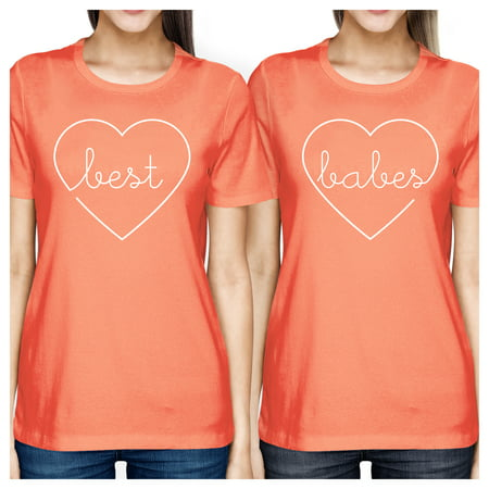 Best Babes Peach Best Friend Tees For Women Lightweight Cotton