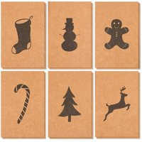 36-Pack Merry Christmas Greeting Cards Bulk Box Set - Winter Holiday Xmas Kraft Greeting Cards with Black Silhouette Designs, Envelopes Included, 4 x 6 Inches