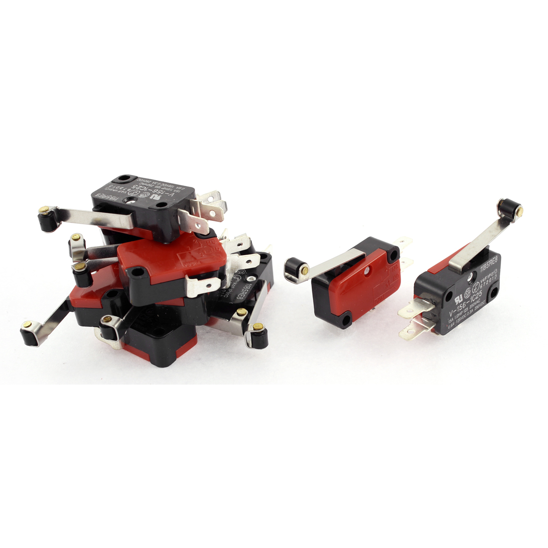 AC 250V 15A Short Hinge Roller Lever Snap Micro Switch NC NO V-156-1C25 10pcs