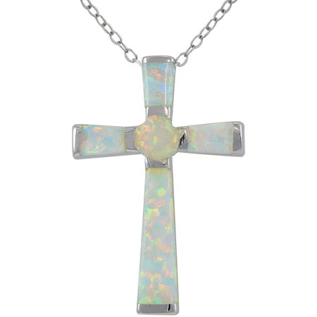 Created White Opal Sterling Silver Cross Necklace, (Created Opal Cross)