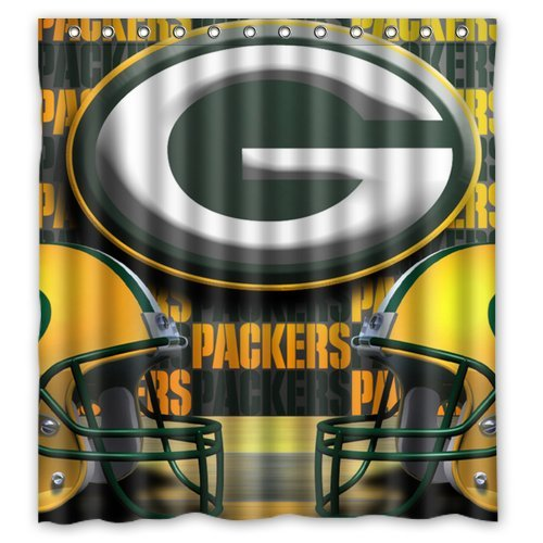 DEYOU Green Bay Packers Pattern Shower Curtain Polyester Fabric Bathroom Shower Curtain Size 66x72 inch