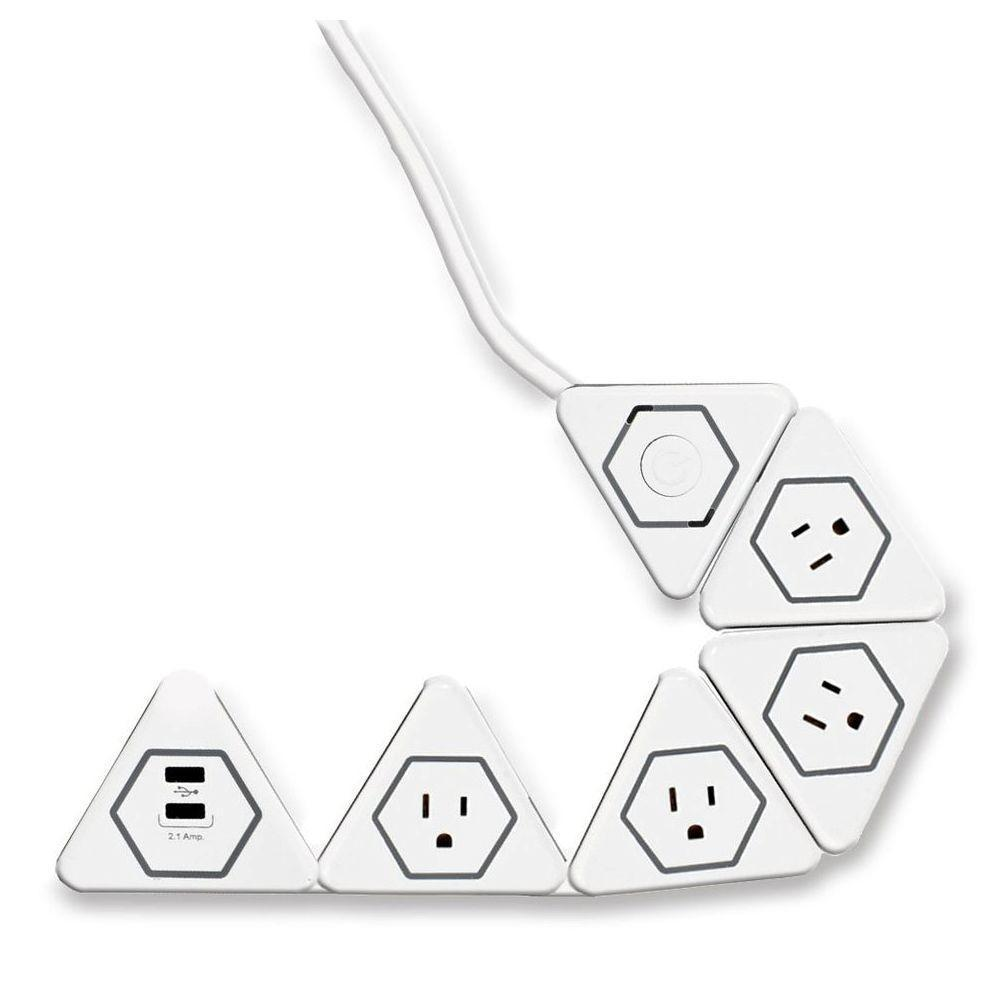 Globe Electric Surge Protected 4 Outlet Flexigon Power Strip 2 Usb