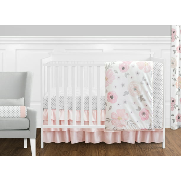 Rose Flower Polka Dot, Baby Girl Pink And Grey Cot Bedding